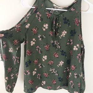 Green Floral Long Sleeve Cold Shoulder Top